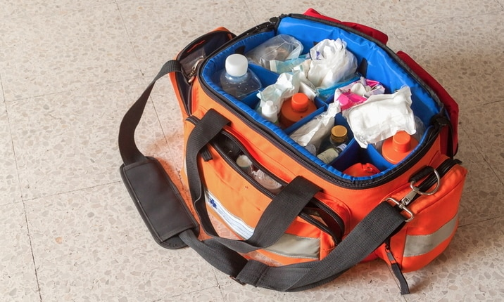 Inside an ambulance - Medicine bag