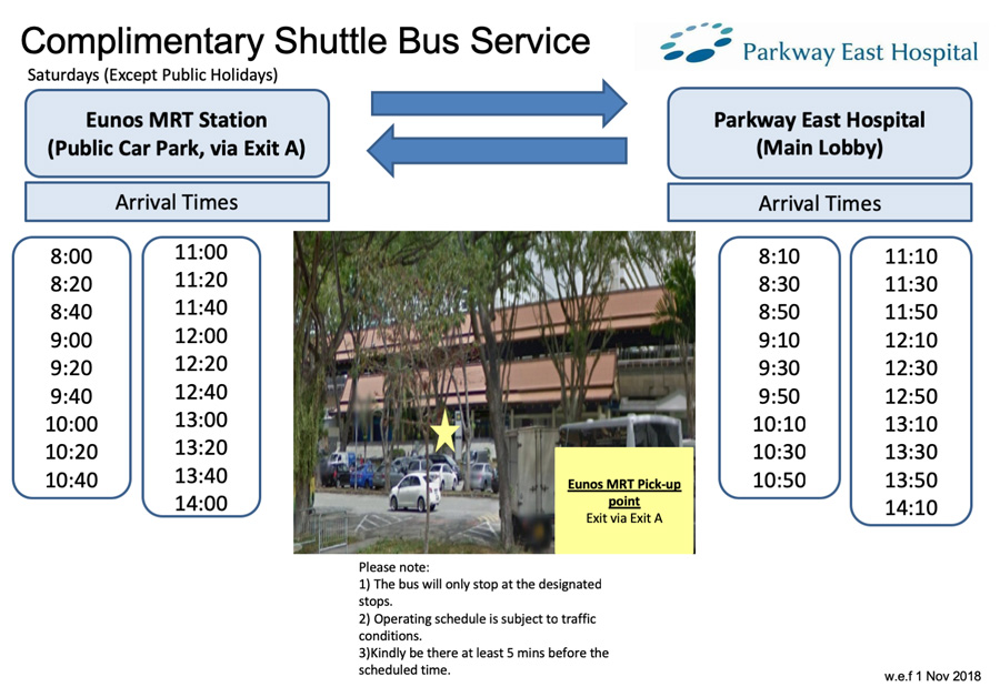 Parkway East Hospital's shuttle bus service on Saturday