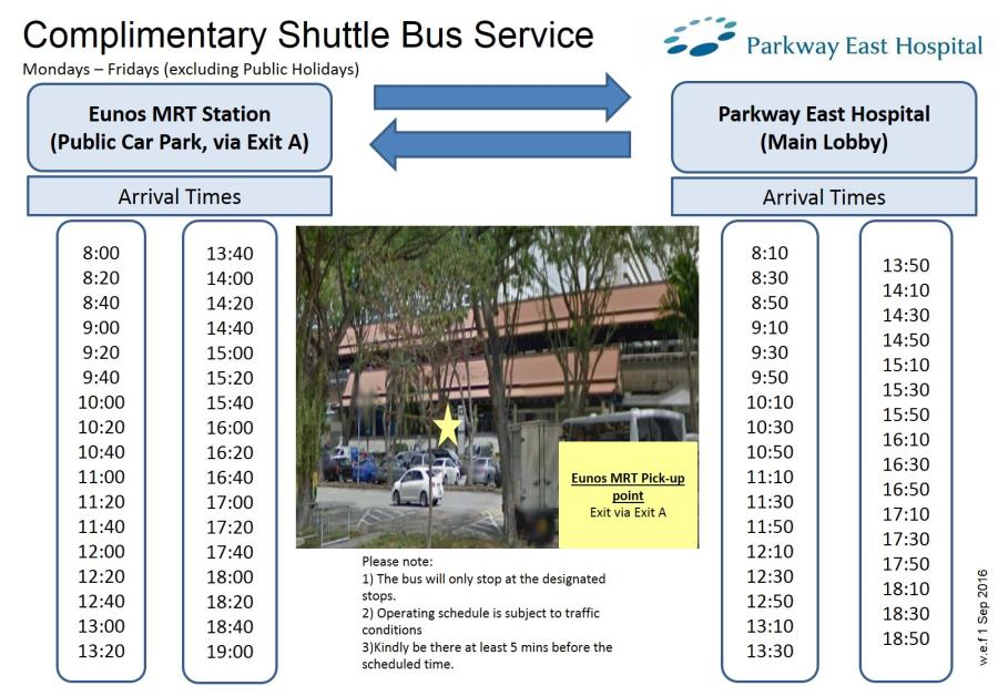 Parkway East Hospital's shuttle bus service on weekdays